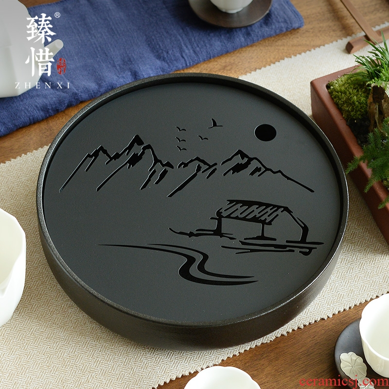 Become precious little stainless steel stem kung fu tea tea tray was contracted household ceramics circular water small tea table tray type