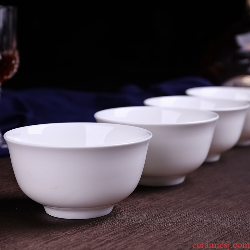 Jingdezhen ceramic bowl pure white ceramic porringer household utensils 4.5 inches 5 Chinese bowl