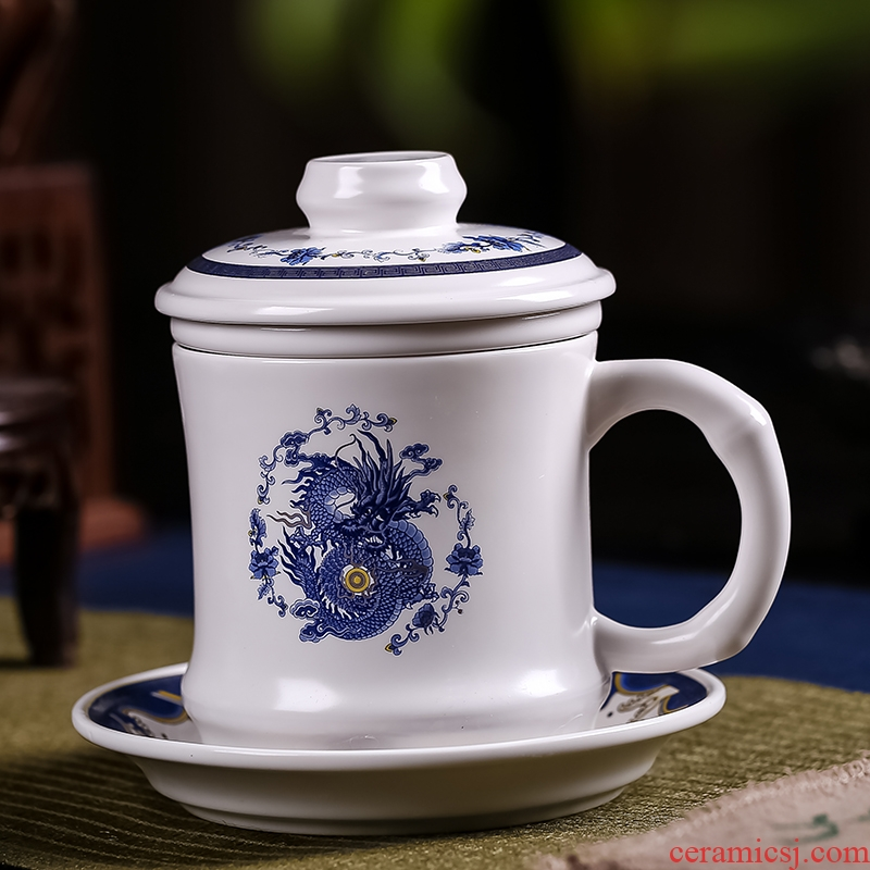 Jingdezhen ceramic cups the filtering cup tea cups with cover home office about the boss cup 450 ml water cup