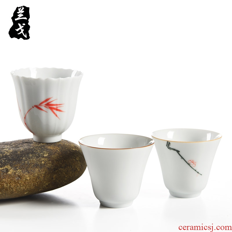 Having hand sample tea cup dehua white porcelain ceramic cups kung fu tea set personal cup small glass master single CPU