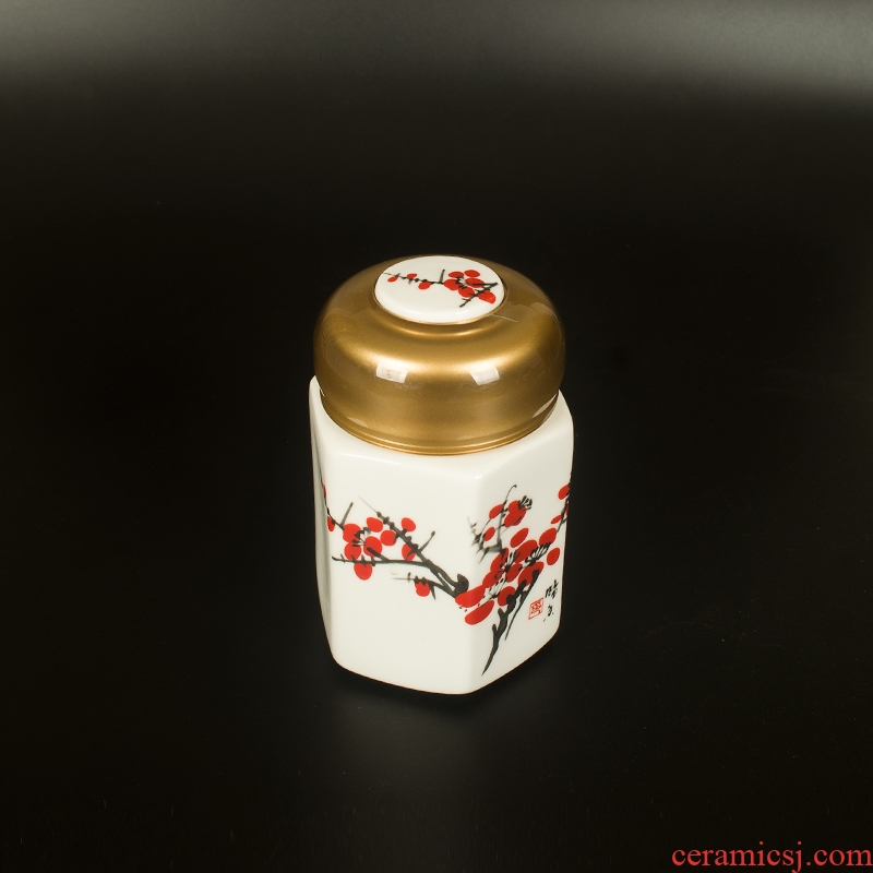 The New rotating hexagonal white porcelain tea pot portable small honey tea pot ceramic paste seal storage tanks