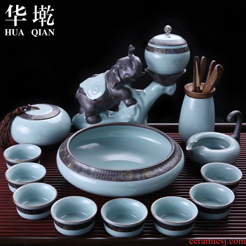China Qian your up automatic kung fu tea set open piece of lazy people make tea ware suit elder brother up with porcelain teapot ice to crack the tea taking
