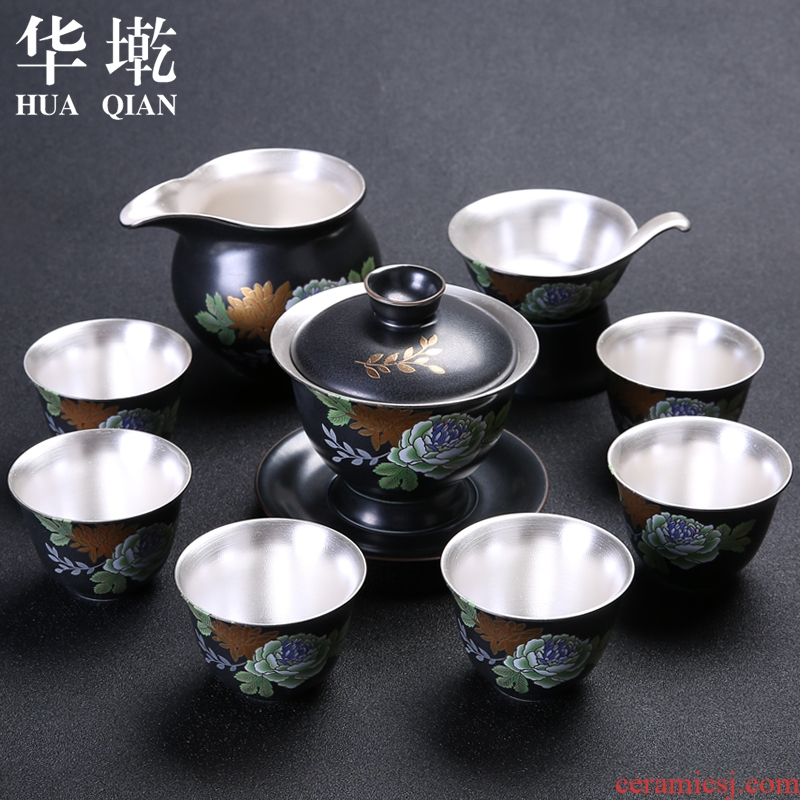 Kung fu tea set of blue and white porcelain household ceramic tea tureen coppering. The as built 999 sterling silver cup gift boxes