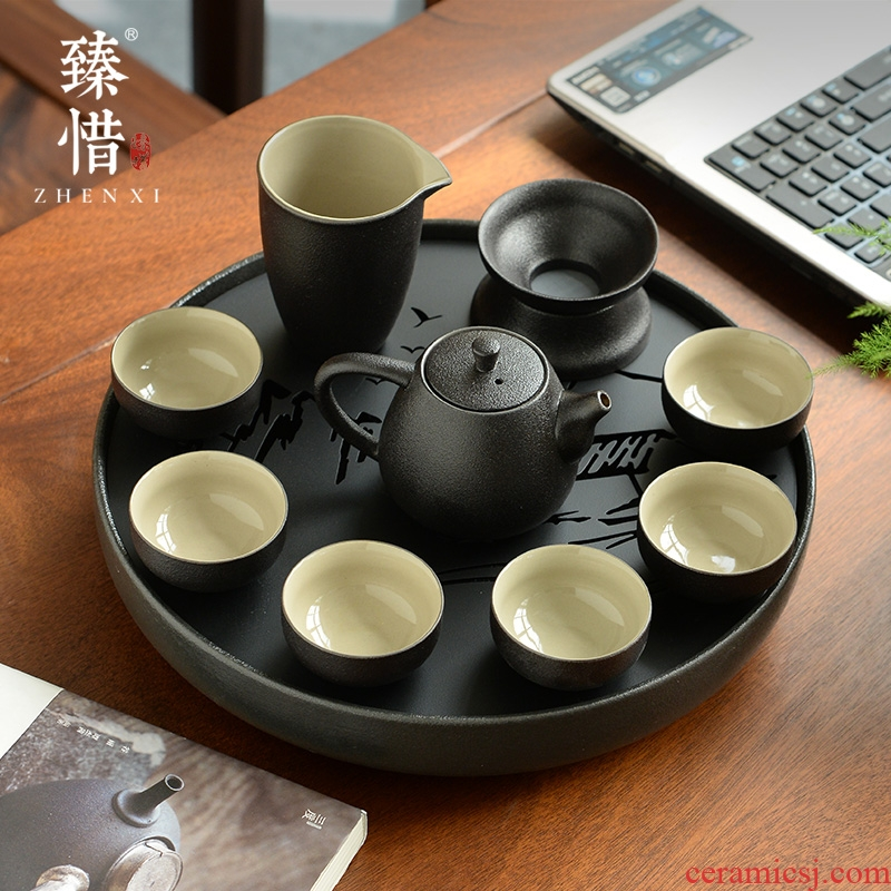 """Precious little black ceramic contracted household Japanese modern kung fu tea set little teapot cup travel dry tea tray"