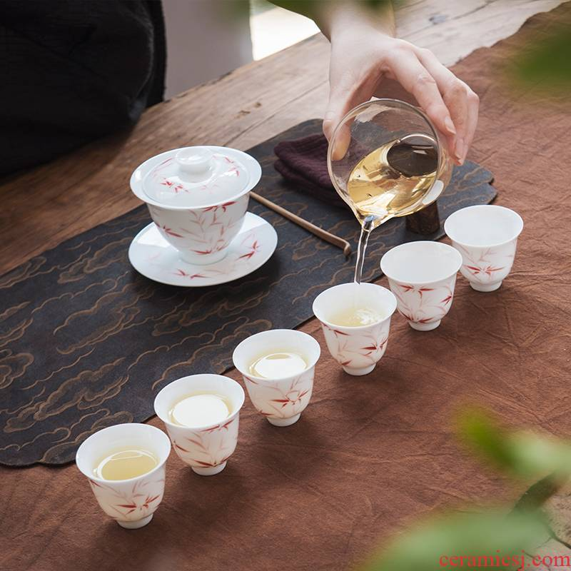 Good thing, jingdezhen ceramics by hand ipads porcelain kung fu tea set red bamboo cups tureen of a complete set of tea sets