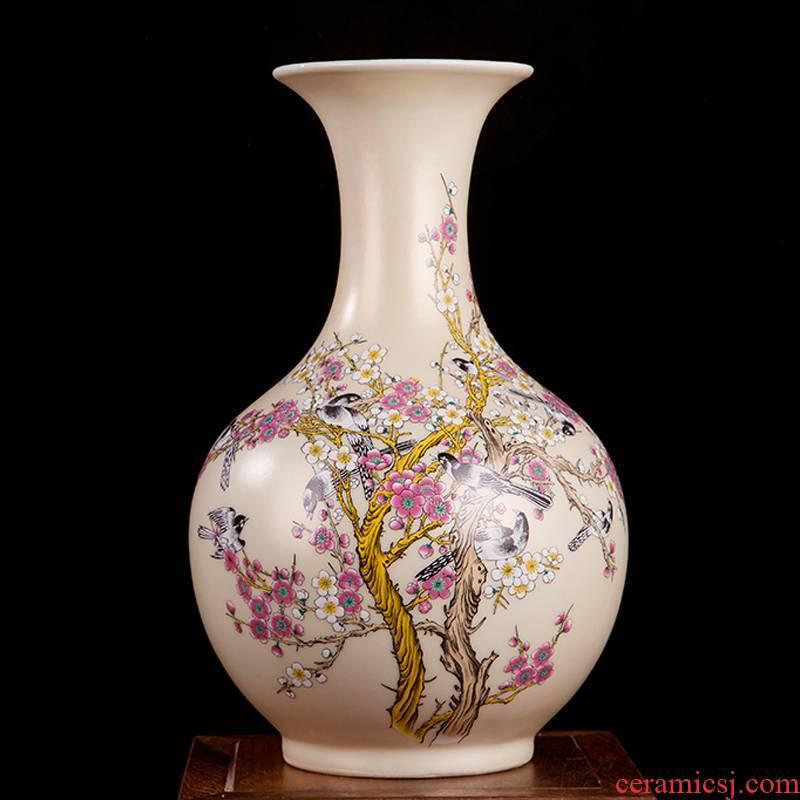 Jingdezhen ceramics powder enamel prosperity all the vases, I sitting room adornment handicraft furnishing articles of TV bar face