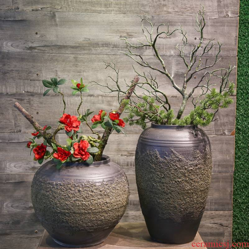 Mesa of jingdezhen ceramic coarse pottery vase restoring ancient ways furnishing articles villa decoration model between simulation flower flower flower art