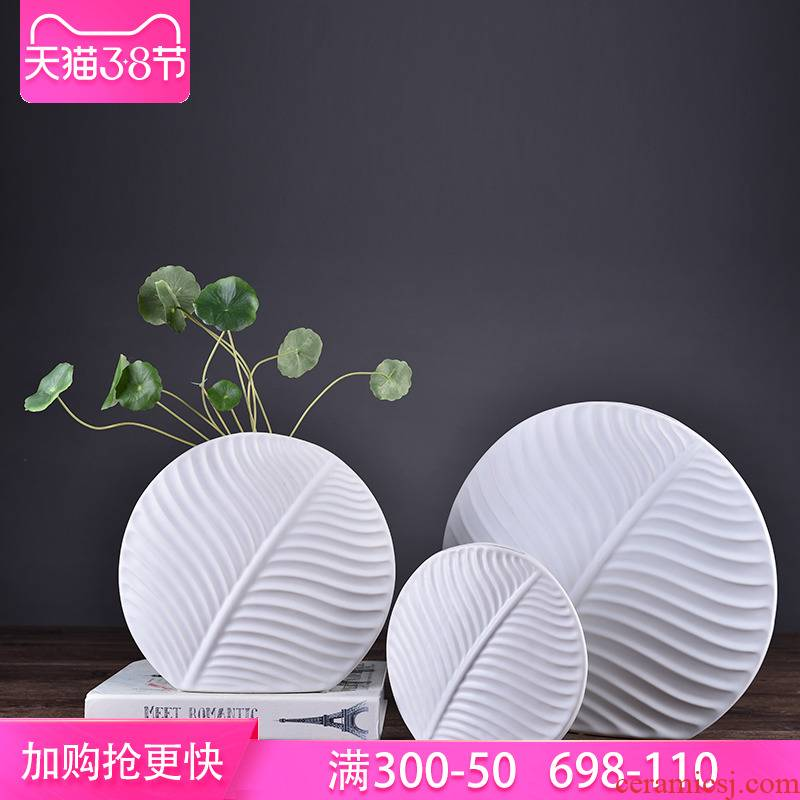 Ins Nordic flower arrangement flat white vase leaves soft outfit decoration furnishing articles ceramics handicraft individuality creative floral outraged