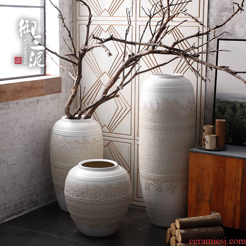 Jingdezhen modern large vases, ceramic contracted sitting room place the courtyard garden decoration super big white sands