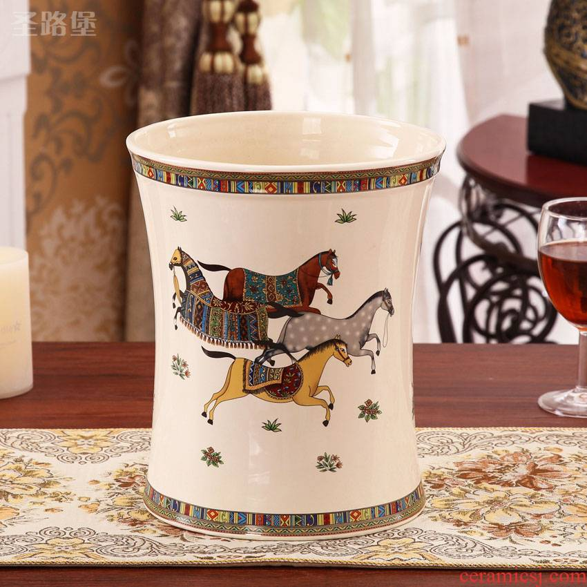 European ideas ceramic trash can study bedroom adornment wastebasket umbrella identifiers furnishing articles package mail
