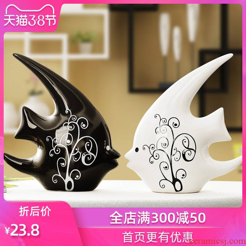 Creative new Chinese style household adornment handicraft small black and white, and I and contracted ceramic decoration indoor desktop furnishing articles