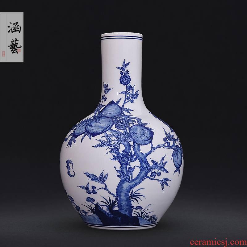 Jingdezhen blue and white wufu ceramics hand - made flat peach tree at new Chinese flower arrangement sitting room adornment handicraft furnishing articles