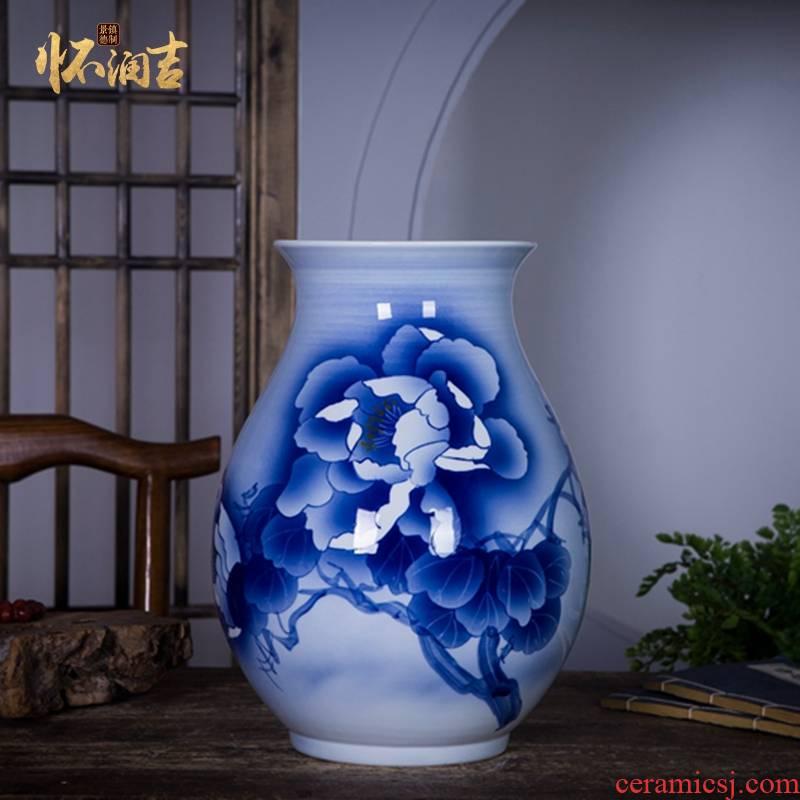 Jingdezhen ceramics name ng mun - hon hand made blue and white porcelain vase peony decorated handicraft furnishing articles