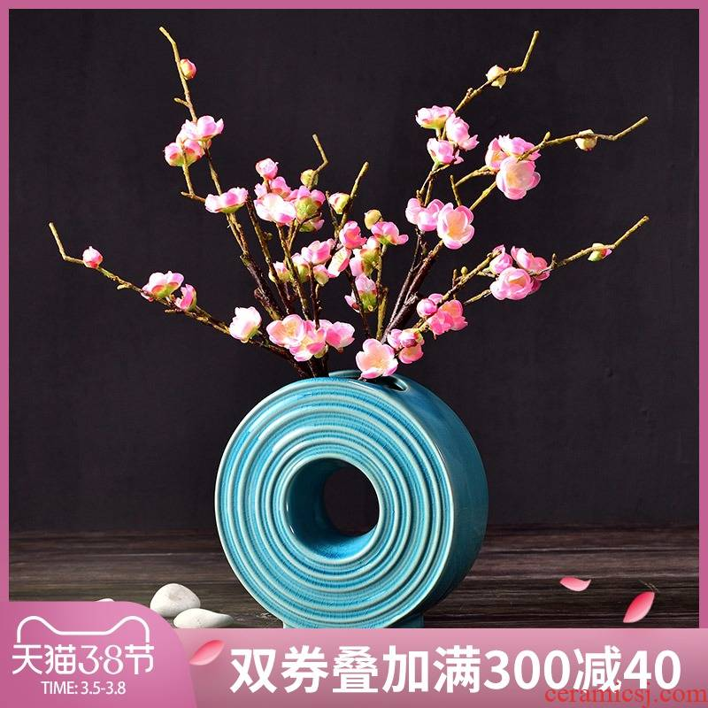 Creative Chinese ceramic vases, furnishing articles decorations sitting room small pure and fresh and yulan simulation table flower arranging flowers
