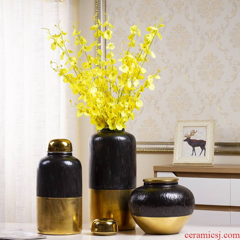 Jingdezhen ceramic vase Nordic light key-2 luxury living room dry flower decoration flower arrangement table POTS creative decorations furnishing articles