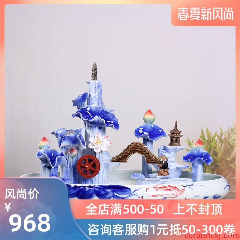 Jingdezhen ceramic aquarium desktop fountain water sitting room aquarium household adornment small goldfish bowl fish bowl