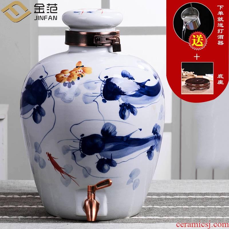 Jingdezhen ceramic jars make it 30 jins of 50 kg bottle 10 jins 20 jins archaize seal wine wine jar