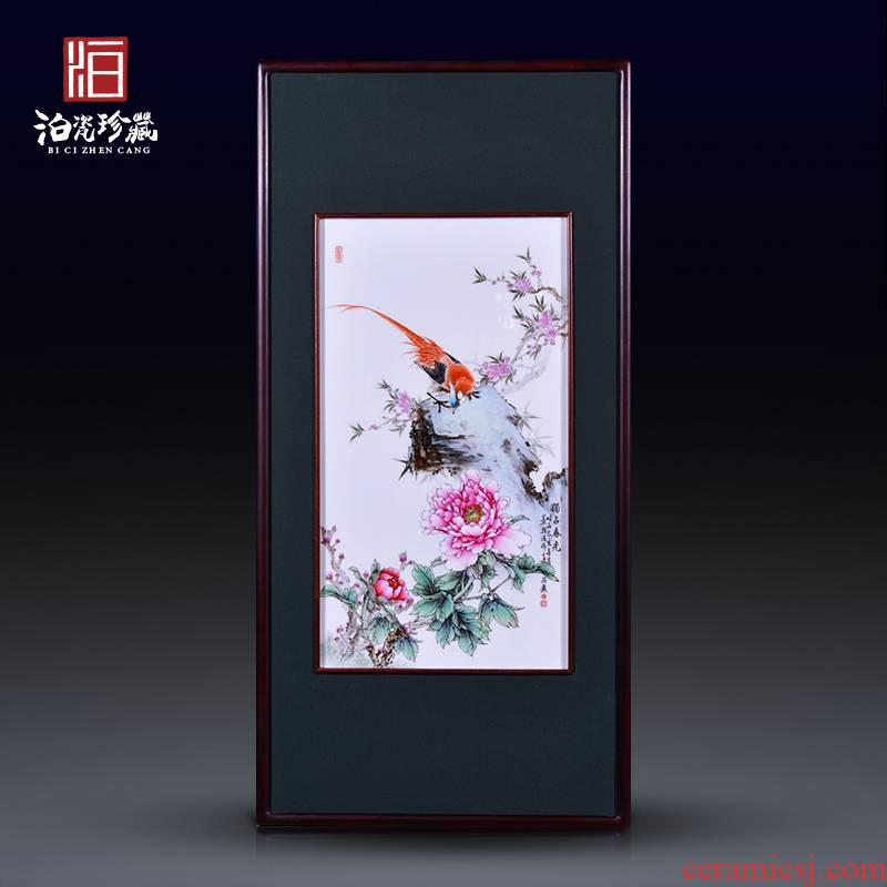 Jingdezhen ceramics exclusive hand - made porcelain plate spring scenery painter background sitting room adornment picture hanging in furnishing articles