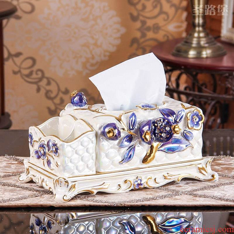SAN road fort European ceramic tissue box multi - purpose household act the role ofing is tasted, the sitting room smoke box furnishing articles housewarming gift