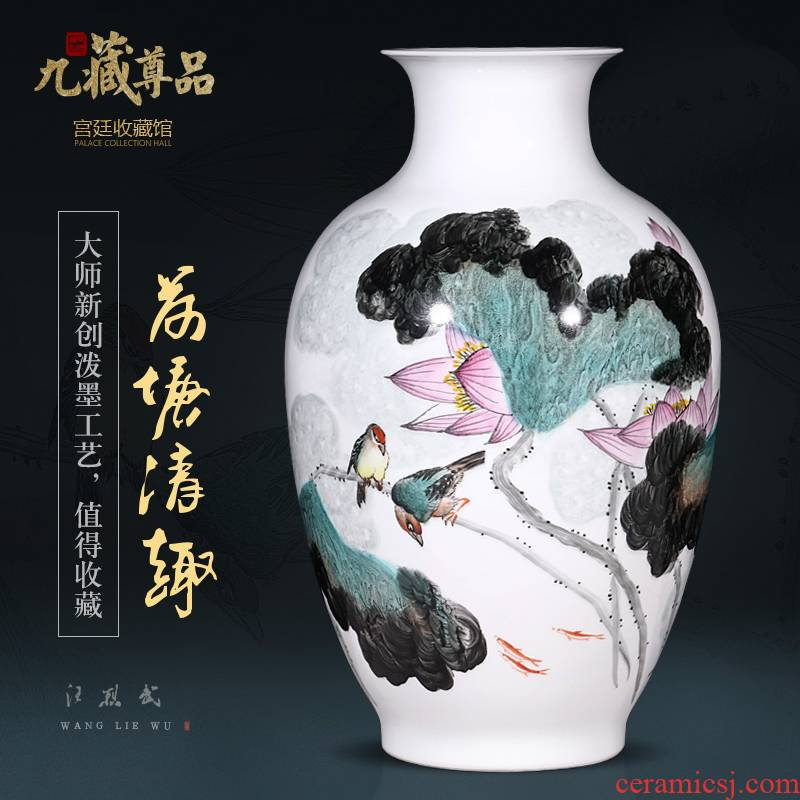 Jingdezhen chinaware lotus hand - made pastel splash ink bottles of Chinese style living room TV ark, flower arranging porch is decorated furnishing articles