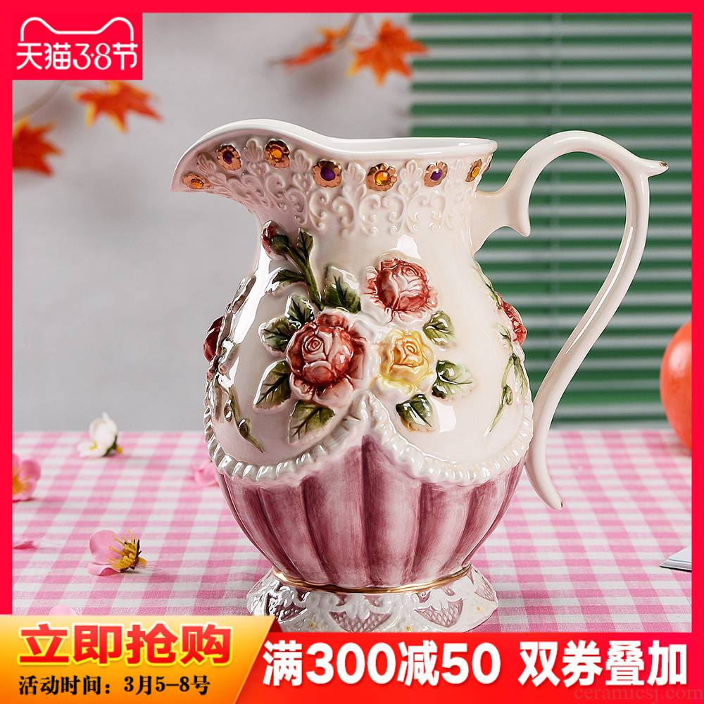 European rural ceramic vases, creative household decorations kettle creative jewelry sitting room porch mesa furnishing articles