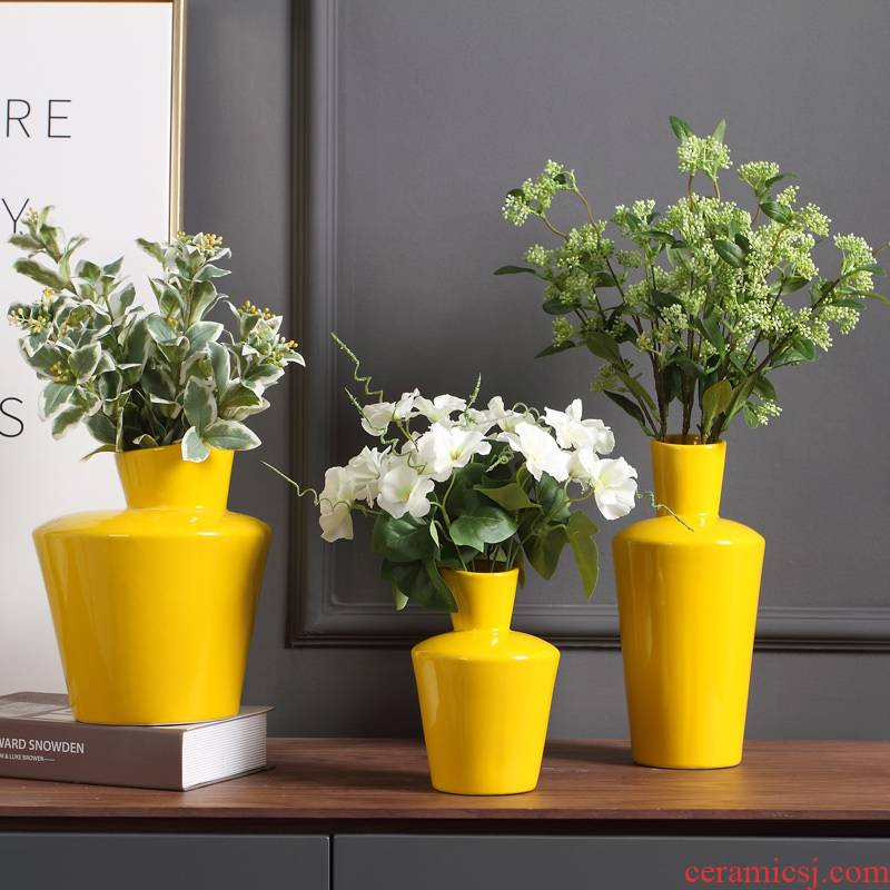 Micro act the role ofing industry flagship store yellow ceramic vase furnishing articles furnishing articles home decoration flower arrangement sitting room