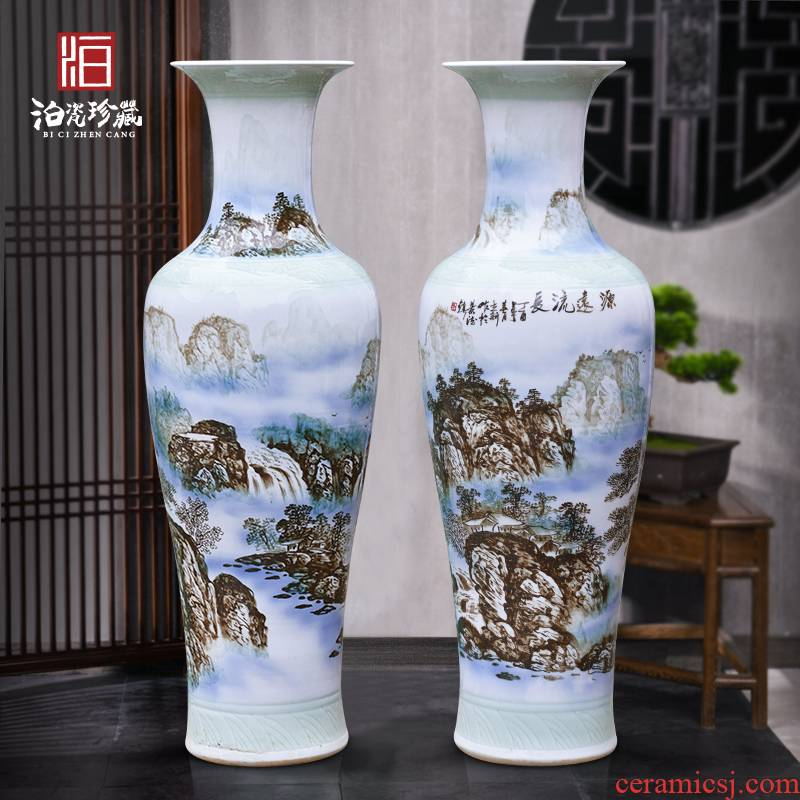Jingdezhen ceramics hand - made scenery of large vases, new Chinese style villa living room hotel opening decorative furnishing articles