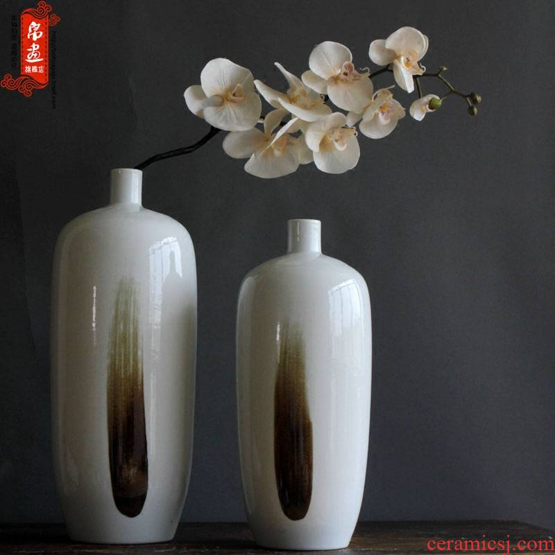 Vase furnishing articles ceramic modern new Chinese style decoration club dried flowers, household soft outfit example room sitting room porch receptacle