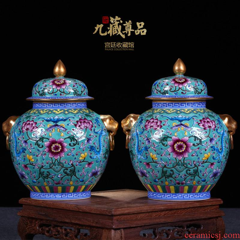 Jingdezhen ceramics vase antique hand - made enamel bound lotus flower paint pot caddy fixings general furnishing articles