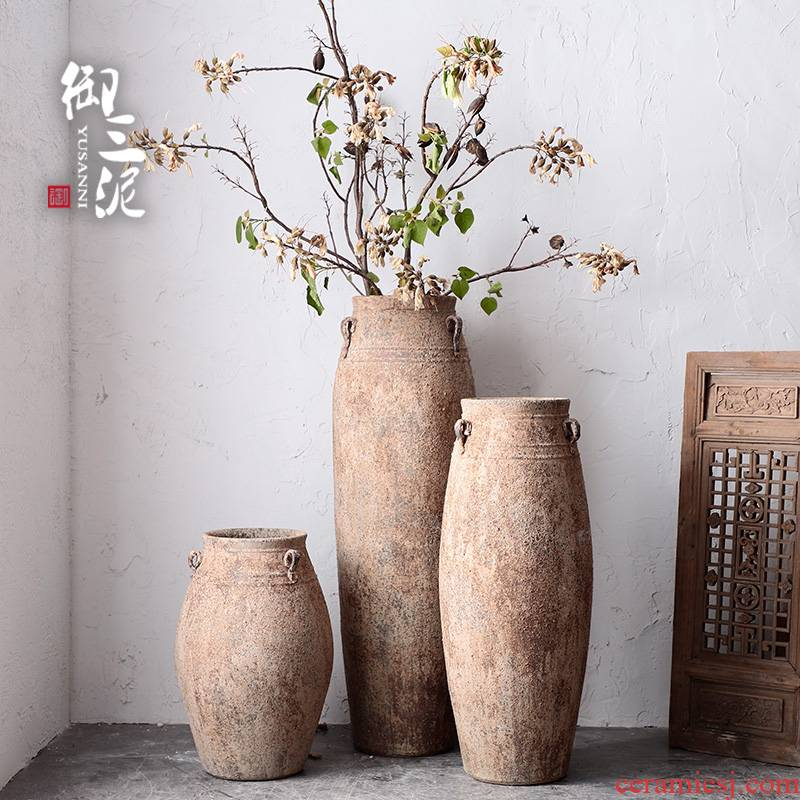 Literary coarse pottery Mediterranean French southeast wind restoring ancient ways, vases, pottery furnishing articles large flower implement flowerpot ornaments