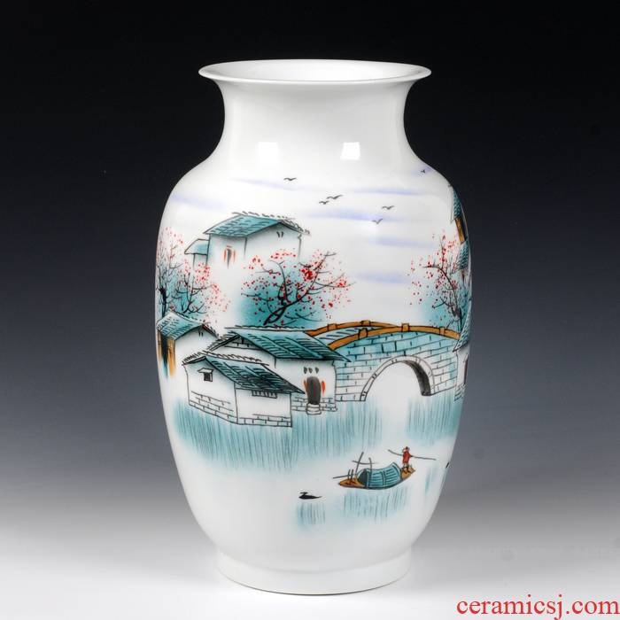 Modern fashion and contracted landing of jingdezhen ceramics powder enamel vase jiangnan water sitting room handicraft furnishing articles