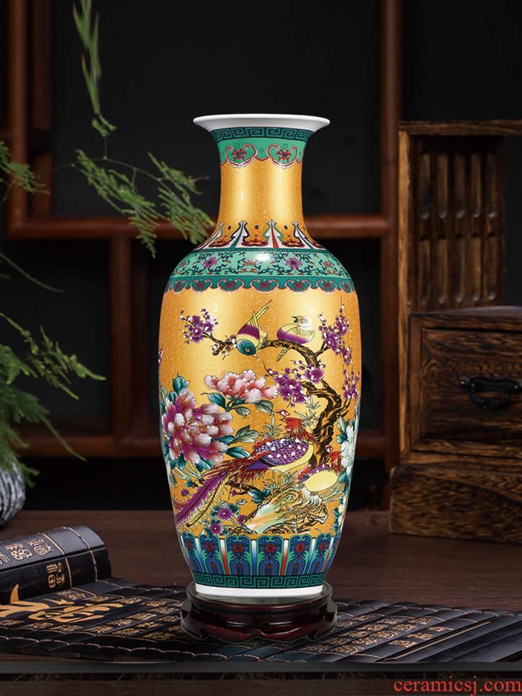 Archaize of jingdezhen ceramics colored enamel large vases, flower arrangement sitting room of Chinese style household adornment landing place