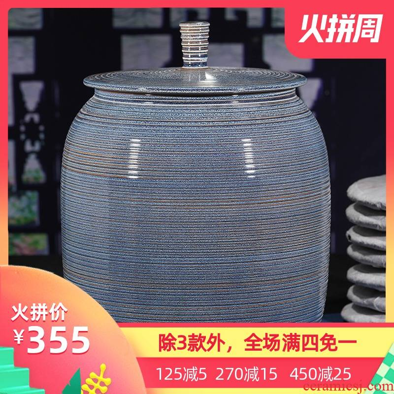 Jingdezhen ceramic checking coarse pottery tea canister receives pot seal tea cake big detong puer tea cake