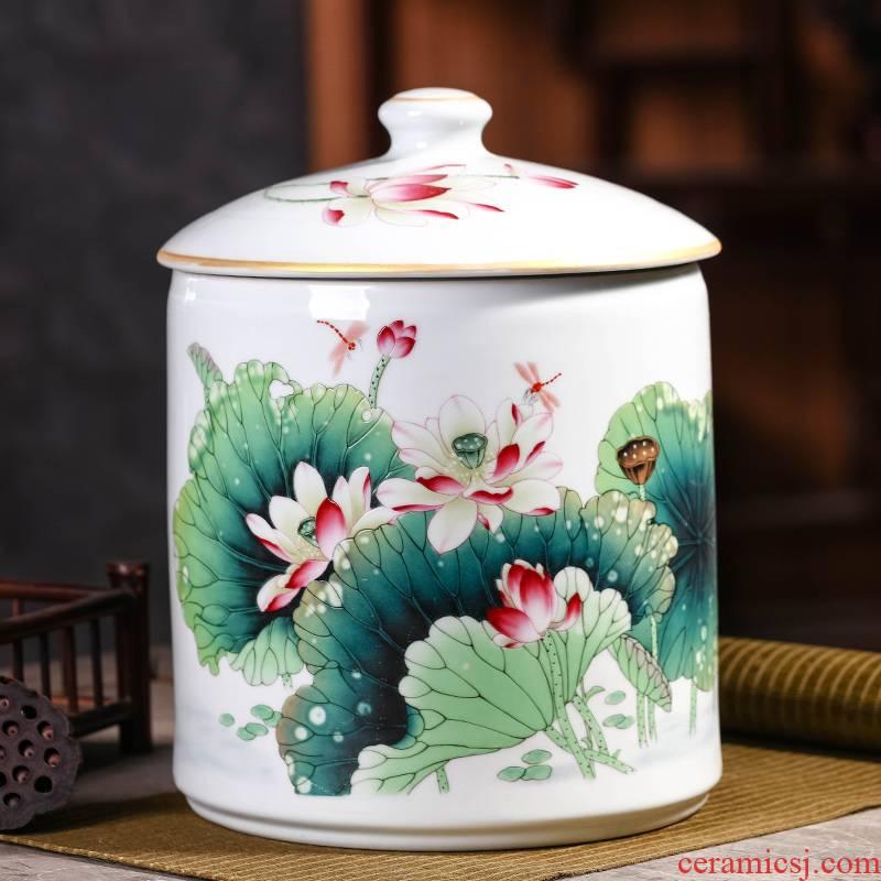 Creative restoring ancient ways to save receives seven loaves pu 'er tea pot household ceramics large seal pot moisture white tea packaging