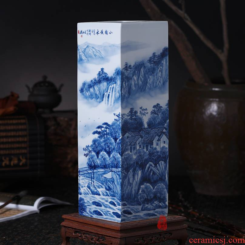 The Master of jingdezhen ceramics hand - drawn square large vases, flower blue water bridge, study of office furnishing articles