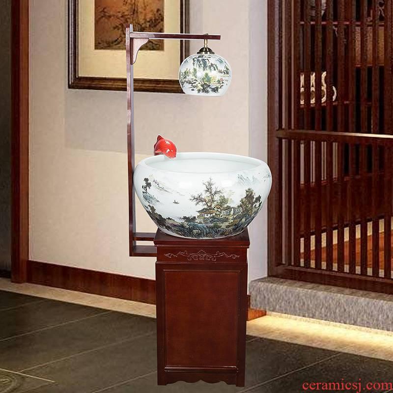 Chinese jingdezhen ceramics extra large aquarium fish basin cycle feng shui plutus goldfish bowl water fountain aquarium