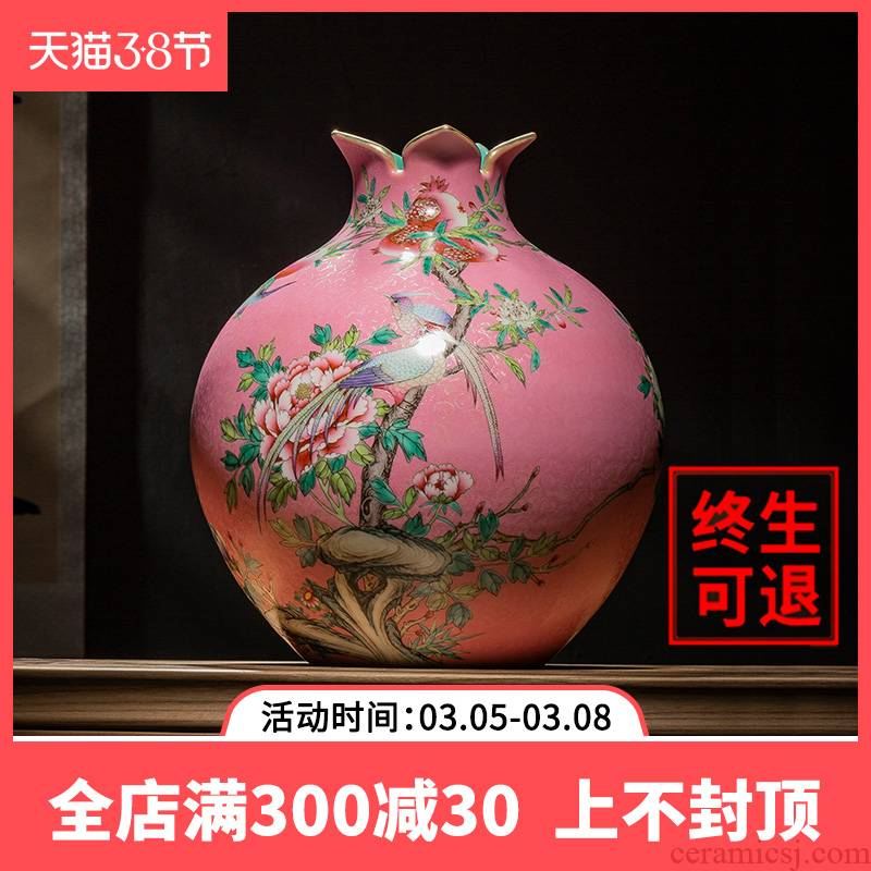 Better sealed up with jingdezhen ceramics vase hand - made painting of flowers and grain pomegranate bottles of Chinese style furnishing articles sitting room adornment office