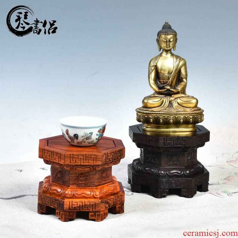 Redwood base for Buddha furnishing articles heightening anise wood stone lotus jade Buddha guanyin kong base