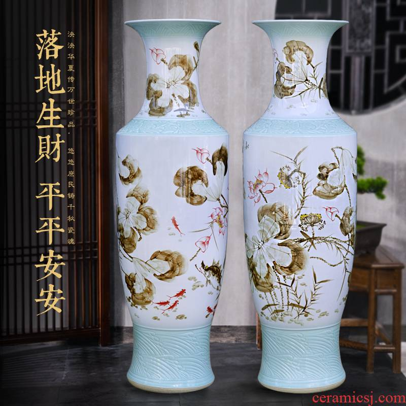 Jingdezhen ceramic hand - made landing large vase housewarming company hotel hall decoration as furnishing articles