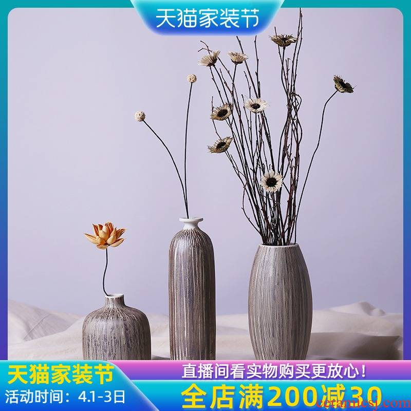 Three - piece suit of jingdezhen ceramic vases, flower implement I and contracted home living room TV cabinet mesa dried flower receptacle furnishing articles