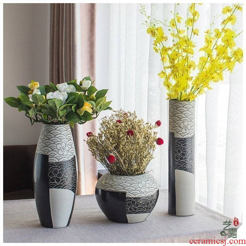Jingdezhen ceramics vase modern household adornment three - piece sitting room act the role ofing is tasted furnishing articles lucky bamboo flowers