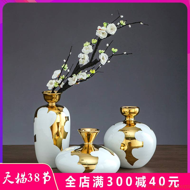 Jingdezhen ceramic checking gilded dry flower POTS flower arranging ground European modern flower arrangement sitting room place decoration