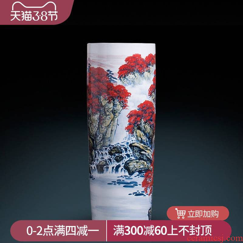 Jingdezhen ceramic vase hand - made high quiver landing big sitting room adornment furnishing articles word calligraphy and painting scroll cylinder to receive