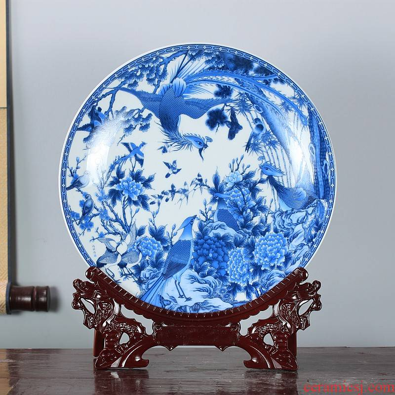 Jingdezhen ceramics furnishing articles household decorations hanging dish sitting room ark, Chinese arts and crafts porcelain decorative plate