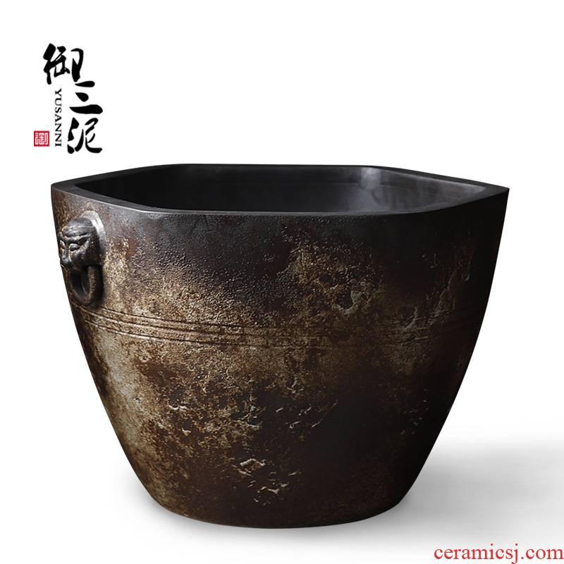 Jingdezhen ceramic goldfish bowl zen furnishing articles in plutus courtyard hexagonal tank water feng shui cornucopia pool