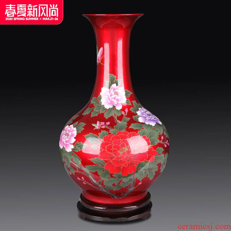 Jingdezhen ceramics vase furnishing articles red flower arranging the sitting room of Chinese style household decorations arts and crafts porcelain decoration