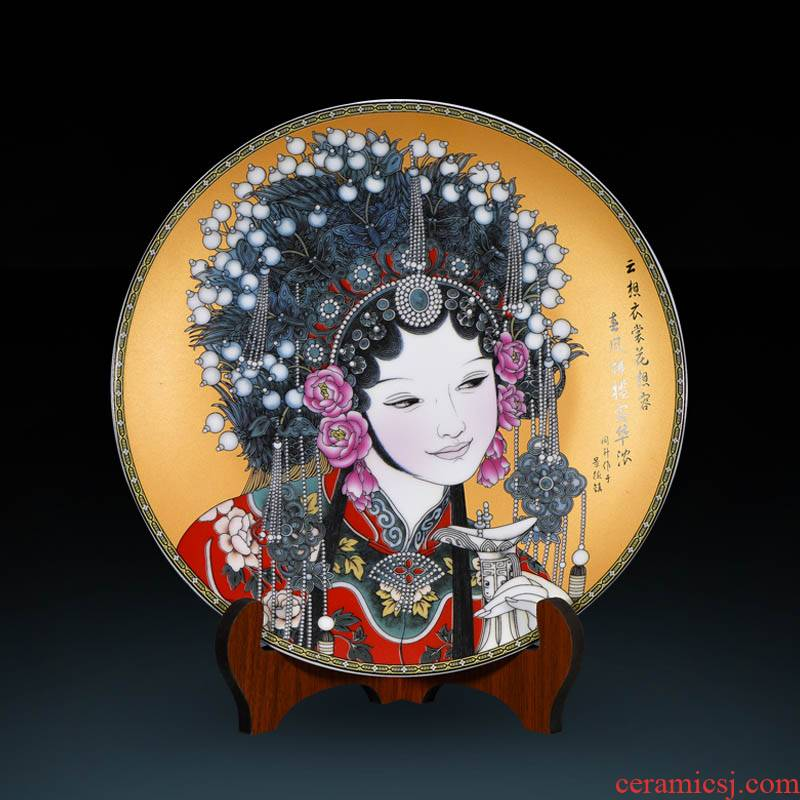 Jingdezhen ceramics decoration plate furnishing articles of Chinese style living room TV ark adornment Chinese style household decoration