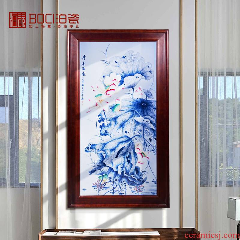 Jingdezhen ceramic hand - made famille rose decoration porcelain plate painting fragrance overflowing far hanging in the sitting room to collect furnishing articles