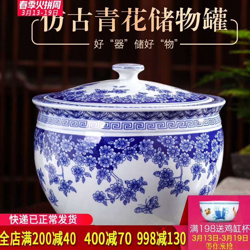 Jingdezhen blue and white porcelain tea pot with cover household ceramics from 20 jins puer tea cake storage tank sealing a large