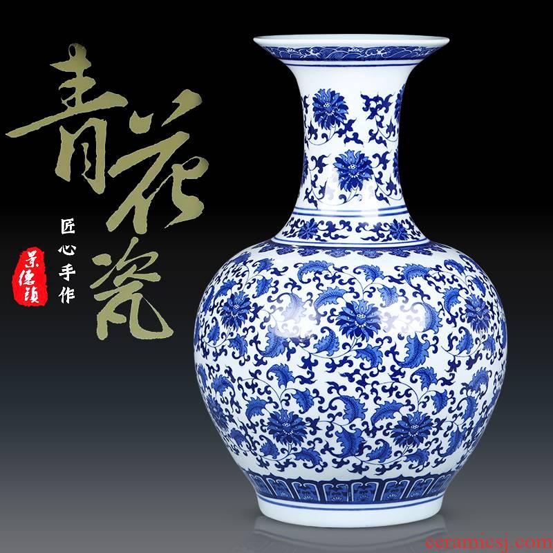 Jingdezhen ceramics archaize sitting room place flower arrangement craft landing big blue and white porcelain vase vase decoration